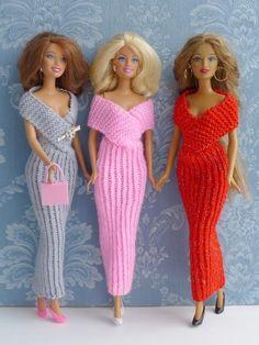 Crochet Patterns Clothes Knitting Pattern – Elegant evening dress for little dolls Barbie Knitting Patterns, Knitting Dolls Clothes, Barbie Clothes Patterns, Crochet Barbie Clothes, Knitted Dolls, Girl Doll Clothes, Clothing Patterns, Dress Patterns, Crochet Dolls