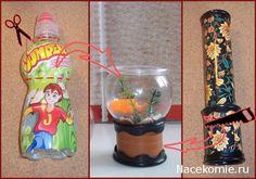 Круглый аквариум из пластиковой бутылки и калейдоскопа 1:12