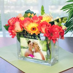 Personalized Glass Photo Vase -Great idea for my bridesmaids or as reception table centerpieces. my-wedding Wedding Favors, Wedding Events, Wedding Reception, Our Wedding, Wedding Gifts, Dream Wedding, Reception Table, Weddings, Wedding Dress
