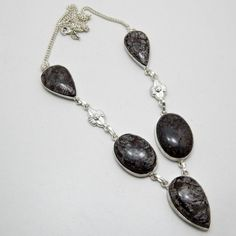 """925 Sterling Silver Filled, NIB 40g. of Cirnold Fossil Gemstone, 18"""" Jewelry"""
