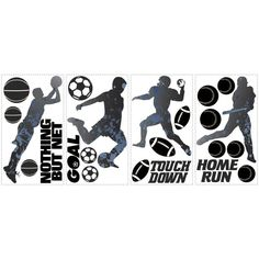 York Wallcoverings RMK1312SCS RoomMates Sports Silhouettes Peel & Stick Wall Dec Black Home Decor Wallpaper Wall Decals