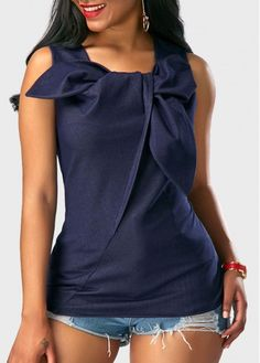 Sleeveless Navy Blue Bowknot Front Blouse on sale only US$29.94 now, buy cheap Sleeveless Navy Blue Bowknot Front Blouse at Rotita.com