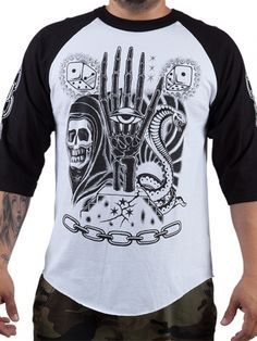 "Men's ""The Keepers"" Raglan by Famous Stars & Straps (White/Black) #inkedshop #raglantee #fashion #art #Mensshirt"