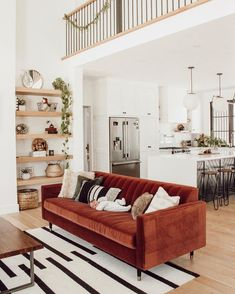Interior inspiration – Nyde – A mix of mid-century modern, bohemian, and industrial interior style. Home and apartment decor, Mid Century Living Room, Living Room Red, Home And Living, Small Living, Living Room Without Sofa, Indian Living Rooms, Living Room Sofa, Interior Design Minimalist, Best Interior Design