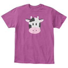 Cow Kids Tee | Child Trendy Clothes Heathered Pink Raspberry  T-Shirt Front #cow #animals #kids