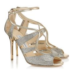 Jimmy Choo - Kelsey - 141kelseygfn - Champagne Glitter Fabric Open Toe Sandals