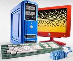 Lego computer | Working computer, screen and keyboard. They have all been boxed in Lego bricks but it is still functional