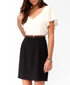 Flounced Contrast Dress, want this too. don't know if it comes with the belt though.