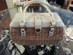 Kate Spade Box Bag Purse Straw Wicker Handbag Natural White No Reserve   eBay auction ends soon! $102