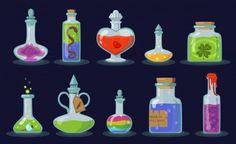 Witch Bottles, Magic Bottles, Old Bottles, Halloween Vintage, Happy Halloween, Graphic Design Branding, Modern Graphic Design, Marcos Halloween, Cute Bat