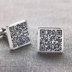 Personalised Secret Message QR Code Cufflinks   #technology #fashion #menswear #accessories