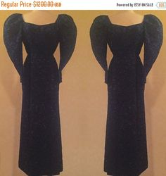 20% off Sale Couture Late 1930s Early 1940s Beaded Sequined Evening Gown/ Dress Midnight Blue and Black, Puff Sleeves, Zipper Wrists by SelkieVintage on Etsy https://www.etsy.com/listing/262010031/20-off-sale-couture-late-1930s-early