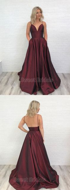 Charming Satin Prom Dress, Burgundy Prom Dress, V-Neck Prom Dress, Backless Long Prom Dress, Shop plus-sized prom dresses for curvy figures and plus-size party dresses. Ball gowns for prom in plus sizes and short plus-sized prom dresses for Prom Dresses With Pockets, Prom Dresses For Teens, Backless Prom Dresses, Formal Evening Dresses, Homecoming Dresses, Sexy Dresses, Long Formal Dresses, Summer Dresses, Wedding Dresses
