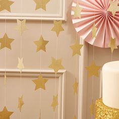 Gold Glitter Star Garland  Paper  5 metres  Glitter Garland