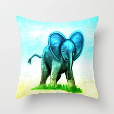 Baby Elephant Throw Pillow by Veronica Ventress - $20.00