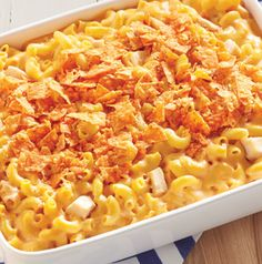 Perfect for parties, Buffalo Chicken Mac 'N' Cheese is a real crowd pleaser. Just for fun, serve with a side of carrot and celery sticks. Don't forget the blue cheese dressing!