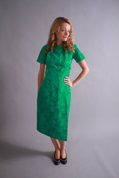 1960s dress / 60s embossed satin emerald green cocktail dress / by coralvintage, www.coralvintage.etsy.com