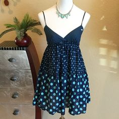 "PINK Victoria's Secret Polka Dot dress PINK Victoria's Secret Polka Dot dress in navy and light turquoise colors. Elastic band under bust area and adjustable straps for comfort fit. Wonderful condition hardly worn. Measures Aprox 32"" long and 14"" across bust PINK Victoria's Secret Dresses"