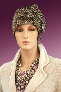 $18.50 - Coffee Tweed Two Way Cap     #cancer #chemo #alopecia #hair loss