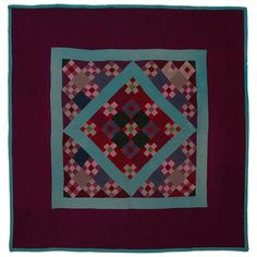 Lancaster County Amish Nine-Patch and Diamond in a Square Quilt at 1stdibs