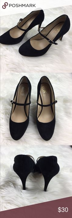 "Vince Camuto Black Beverly Platform Pump 8.5 Mary Jane strap with an adjustable buckle. 3/4"" platform / 4.25"" heel, leather sole. Vince Camuto Shoes Heels"