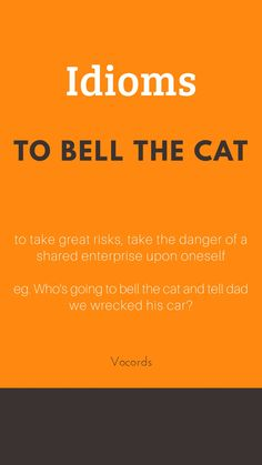 To bell the cat ~ to take great risks, take the danger of a shared enterprise upon oneself; Who's going to bell the cat and tell dad we wrecked his car? Slang English, English Speaking Skills, Advanced English Vocabulary, English Vocabulary Words, Learn English Words, English Phrases, English Language Learning, English Writing, Spanish Language