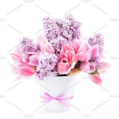 Bouquet from tulips and lilac Photos Bouquet from pink tulips and lilac on white by oksix