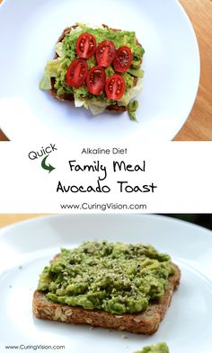 HAT Toast - Hemp Avocado Tomato. This is a complete family approved meal for the Alkaline Diet, Vegan, Whole Foods. We all love the classic BLT sandwich, this is a new healthy twist and fun name, and perfect when you need a quick lunch! #alkalinediet #avocado #avocadotoast #wholefoods #kroger #familymeal #kidapproved #easydinner #quicklunch #curingvision Simple Avocado Toast, Avacado Toast, Alkaline Diet Plan, Alkaline Diet Recipes, Whole Food Recipes, Healthy Recipes, Coconut Health Benefits, Diet Breakfast, Recipes For Beginners
