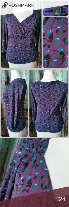 SEMANTIKS top Vintage inspired fitted stretchy top with 3/4 length sleeves and ruched vneck and sides. Purple with retro blue and gray print Semantiks Tops