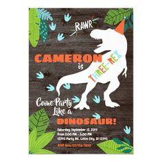 Three-rex Dinosaur 3rd Birthday invitation Dinosaur Birthday Invitations, Dinosaur Birthday Party, Birthday Party Games, 23rd Birthday, Birthday Kids, Birthday Celebration, Party Ideas, Invites, Party Supplies