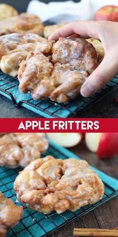 dessert recipes 121175046213086857 - These Apple Fritters are super easy to make with store-bought ingredients. A delicious yeast doughnut with chunks of apples, ground cinnamon, and a sweet glaze. Apple Fritter Recipes, Apple Dessert Recipes, Dessert Dips, Köstliche Desserts, Easy Cookie Recipes, Sweet Recipes, Fried Apple Pie Recipe Easy, Baked Apple Fritter Donut Recipe, Apple Recipes Video