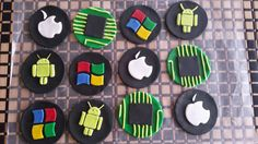 Computer/IT Office Fondant Cupcake Toppers