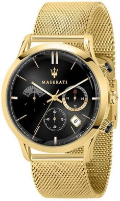Features:  Gold Tone Stainless Steel Case Gold Tone Stainless Steel Mesh Bracelet Quartz Movement Caliber: VR32 Mineral Crystal Black Dial Analog Display Chronograph Function 12/24 Hours Display Date Display Screw Down Crown Solid Case Back Deployment Clasp 50M Water Resistance  Approximate Case Diameter: 42mm Approximate Case Thickness: 8.4mm Maserati, Mesh Bracelet, Stainless Steel Mesh, Luxury Watches, Gold Watch, Watches For Men, Quartz, Crystals, Accessories