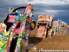 In the true spirit of my random road trip stops. Cadillac Ranch outside of Amarillo, TX. Bring your own spray paint and add your own artwork to the random row of Caddies in the cow pasture! The kids would think this was hilarious! The Places Youll Go, Places To See, Amarillo Tx, Roadside Attractions, Texas Travel, Road Trip Usa, Road Trippin, Route 66, Public Art