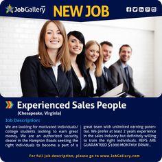 SEEKING EXPERIENCED SALES PEOPLE - CHESAPEAKE, VA  #jobs #jobopening #salesjobs #marketing   #chesapeake #virginia #virginiajobs #job #gallery #jobgallery #jobposting