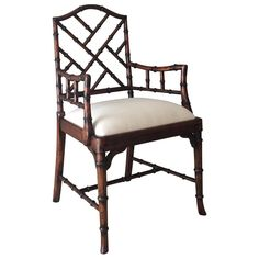 Charlotte Chippendale Dining Arm Chair (colors) in White -- dining room or living room Sunroom Dining, Dining Chairs For Sale, Dining Room Office, Tufted Dining Chairs, Black Dining Room Chairs, Office Chairs, Dining Rooms, French Provincial Chair, Hickory White