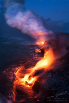 Lava flow ocean entry. Kalapana, Puna District, Big Island, Hawaii. I want to see lava flow in Hawaii. Hopefully I'll get to go to the Big Island someday.