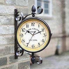 rotatable garden wrought iron doublesided clock retro living room wall clock