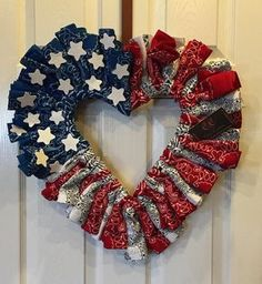 The darling 4th of July wreath is made out of bandanas. I can make round or heart shape. 19X19 It is a lot of fun! any kind of event