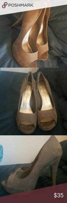 Jessica Simpson suede open toed heels Suede, Jessica Simpson, size 8, worn once, very comfortable, open toed, 2.5 inch heel Jessica Simpson Shoes Heels