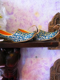 Babouches are the traditional Moroccan leather slipper. They are typically found in the souk and are adorned with sequins and other embellishments.