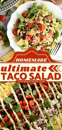 Learn how to make Taco Salad with Avocado Ranch Dressing! This salad recipe is customizable to what you have on hand. What's more, this dinner salad is a great way to eat plenty of veggies! Save this pin! Fast Healthy Meals, Good Healthy Snacks, Healthy Dinner Recipes, Avocado Ranch Dressing, Dinner Recipes Easy Quick, Dinner Salads, Veggies, Eat, Dressings