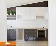 An amazing transformation using Ikea.  Teamed ABSTRAKT doors in Gloss Grey for the base units and then teamed it with their range in white for the wall. The handles were the BASTIG knob and the countertop was their PRAGEL in Light Oak effect, which is one of the most realistic laminates I'd come across. The plus on going with IKEA for this kitchen was their units came in a smaller size as opposed to a larger standard wide.