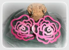 Pink roses wooden earringswith silver sterling by CarmenHandCrafts, €5.00