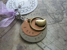 Hand stamped metal keyring silver copper bird. by lauriebale, £4.00