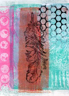 every colour in the box: Hot Work. Anyhoo, here's a card I did make successfully with the texture plates - gelli printed and collaged!