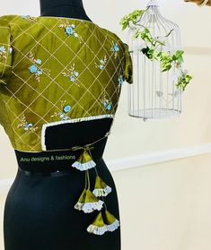 EDHAS- every dress has a story! Designer boutique in MVP colony Contact us - 08912786788 . Grey over coat embellished with crystals,… Blouse Back Neck Designs, Stylish Blouse Design, Fancy Blouse Designs, Indian Designer Outfits, Saree Blouse, Blouse Patterns, Embroidery, Kalamkari Dresses, Maggam Works