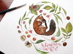Finally finished up this little sleeping fox! #instaart #instapic #fox #cute…