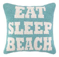 Eat Sleep Beach Hooked Pillow.