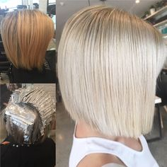 Before and after blonde transition – jamie_hotteshair Short Hair Cuts For Women Bob, Short Hair Styles, Blonde Balayage, Blonde Hair, Short Blonde Bobs, Before After Hair, Hair Specialist, Bob Hairstyles, Haircuts